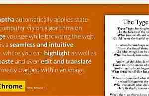 Расширение Naptha читает текст с картинок