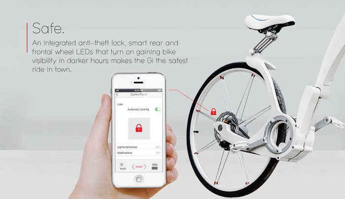 Можно дистанционно блокировать велосипед с помощью мобильного приложения